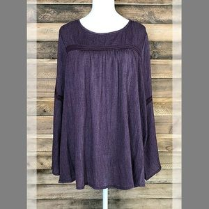 Hannah rich purple baby doll top with bell sleeves